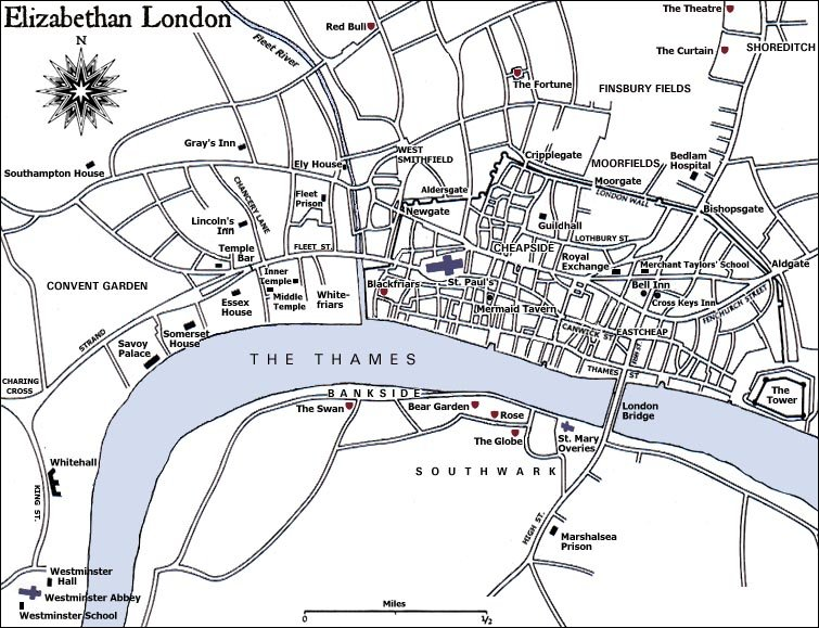 Map Of London 1600.Shakespeare The Theatre